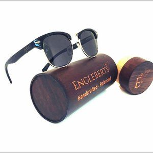 Midnight Black Bamboo Club Sunglasses W/Case
